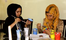 Orphan Layelle Shuja'ddin at an art workshop in Sanaa